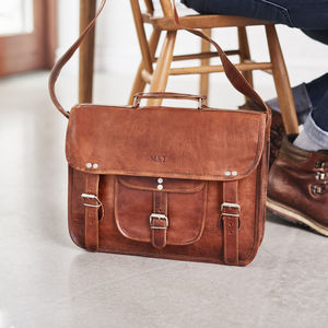 Classic Leather Laptop Bag With Handle And Pocket - laptop bags & cases