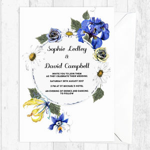 Yellow And Cornflower Blue Floral Wedding Invites