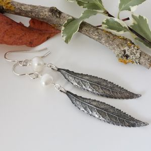 Sterling Silver Long Leaf And Pearl Boho Earrings