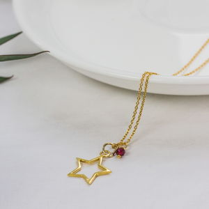Gold Star With Garnet Necklace - new in jewellery