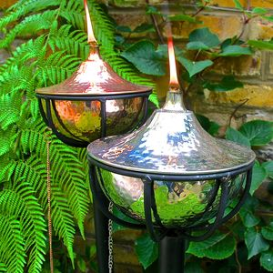 Hammered Bowl Oil Burning Garden Torch - outdoor decorations