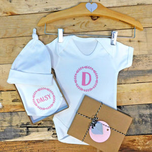 Personalised Girls Baby Initial And Name Gift Set