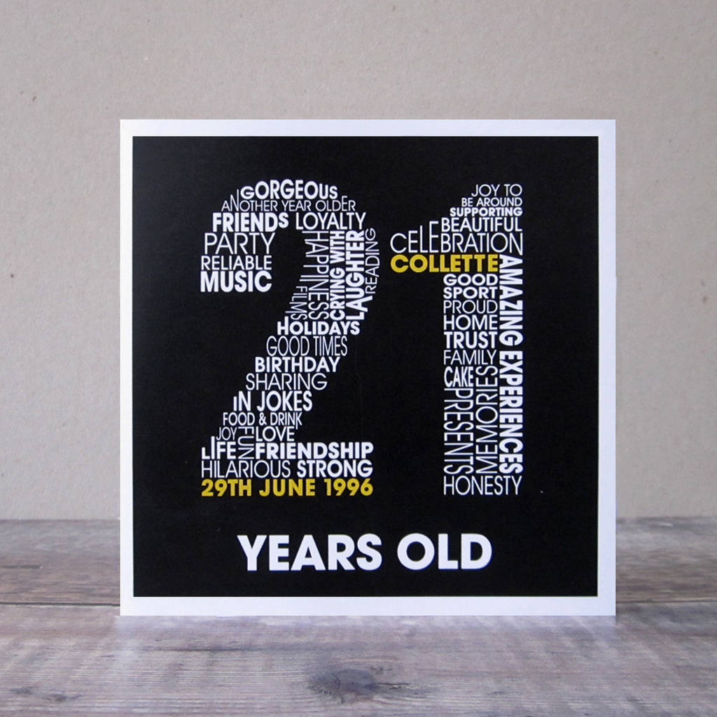 Personalised 21st Birthday Card With Girls Name And Date Of Birth