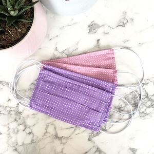 Pack Of Four Lilac And Pink 100% Cotton Face Mask