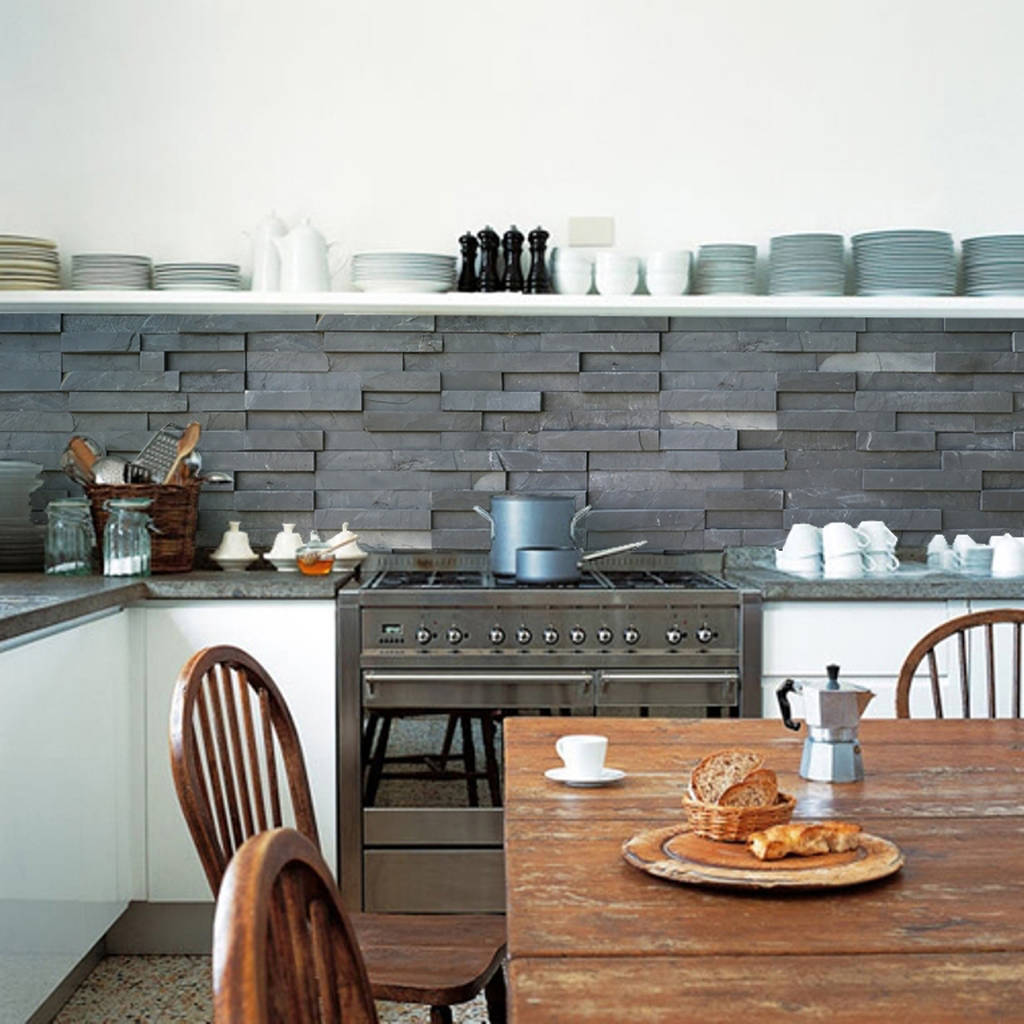 Kitchen Wall Tile Backsplash: Slate Tiles Kitchen Walls Backsplash Wallpaper By Lime