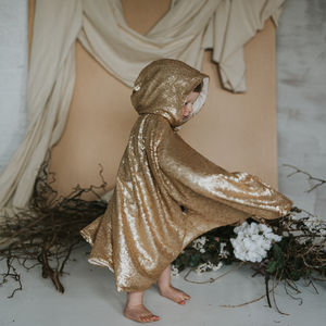 Matte Gold Sequin Hooded Cape