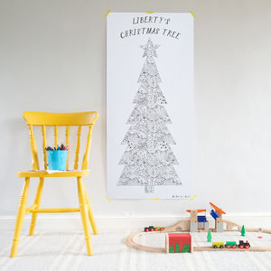Colour In 'Patchwork' Christmas Tree Poster