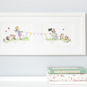 Girls Tug Of War Nursery Art - children's pictures & paintings