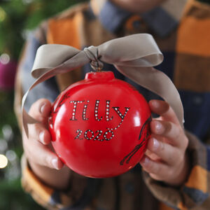 Red Christmas Bauble With Personalised Lettering