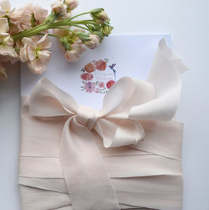 Blush Hand Dyed Silk Ribbon - wedding stationery