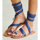 Blue Cannes Flat Leather Ankle Wrap Sandals