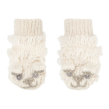 Unisex Cream Woolly Sheep Knit Winter Mittens