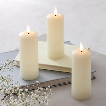 Trio Of Realistic Flame LED Pillar Candles