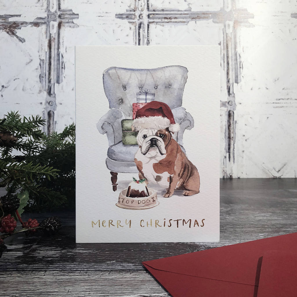 bull dog christmas card by emmy designs | notonthehighstreet.com