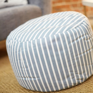 Hand Made Striped Pouffe - living room
