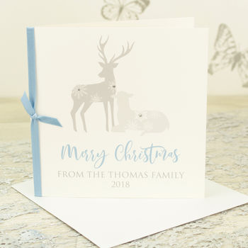 Pack Of Five Personalised Winter Deer Christmas Cards