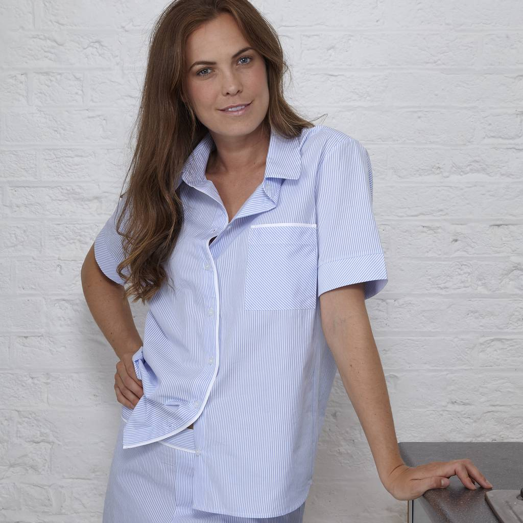 Cotton Seersucker Strip Pyjama Shirt