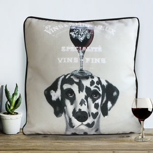 Dalmatian Cushion, Dog Au Vin Wine Gift - cushions