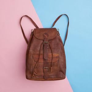 Leather Convertible Bucket Bag Backpack