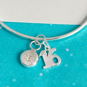 16th Birthday Handmade Personalised Silver Charm Bangle