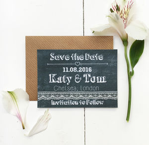 Chalkboard Wedding Save The Date Card - wedding stationery