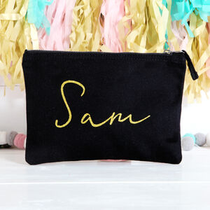 Black Pouch With Gold Glitter Lettering
