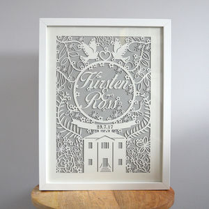 Paper Cut Wedding Gift Custom Laser Cut Framed Print - mixed media & collage