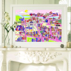West London Framed Illustrated Map Print