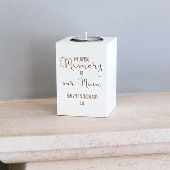 Personalised In Loving Memory White Candle Holder