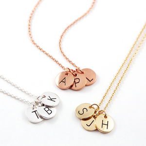 Triple Letter Disc Necklace - winter sale