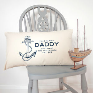 Personalised 'Captain' Daddy Anchor Cushion - cushions