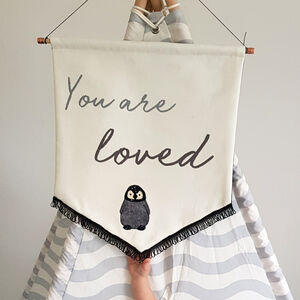 Personalised 'You Are Loved' Embroidered Wall Hanging