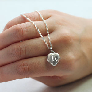 Initial Heart Locket Necklace - christening jewellery
