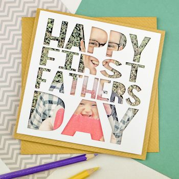 Personalised Papercut Photo First Fathers Day Card