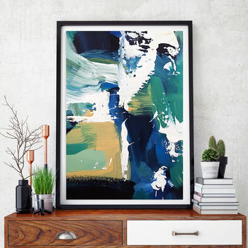 Abstract 78 Modern Blue Abstract Art Print Wall Art