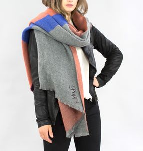 Colour Block Blanket Scarf In Coral, Blue And Grey