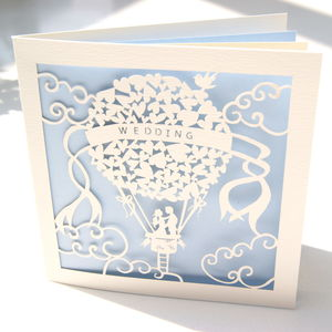 Up And Away Laser Cut Wedding Card - anniversary cards