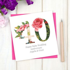 Personalised Floral Ruby 40th Wedding Anniversary Card - anniversary cards