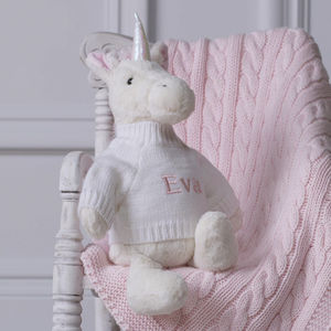Personalised Knitted Baby Blanket And Bashful Unicorn