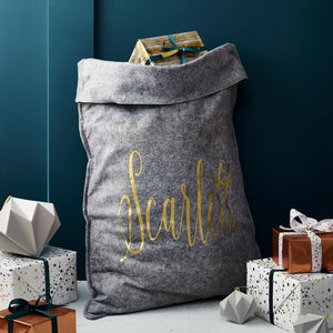 Personalised Grey Felt 'Name' Christmas Sack