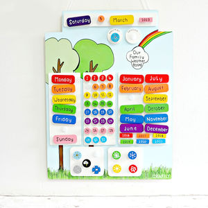Personalised Wooden Weather Chart Calendar
