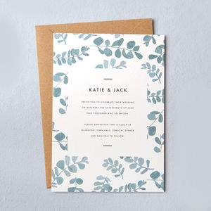 Greecian Eucalyptus Wedding Invites - invitations