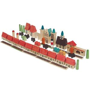 45 Piece Wooden Village Construction Set - traditional toys & games