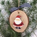 Personalised Christmas Santa Wood Slice Decoration
