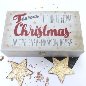 Personalised Christmas Eve Family Keepsake Box - cards & wrap