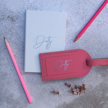 Personalised Name Notebook And Luggage Tag Set