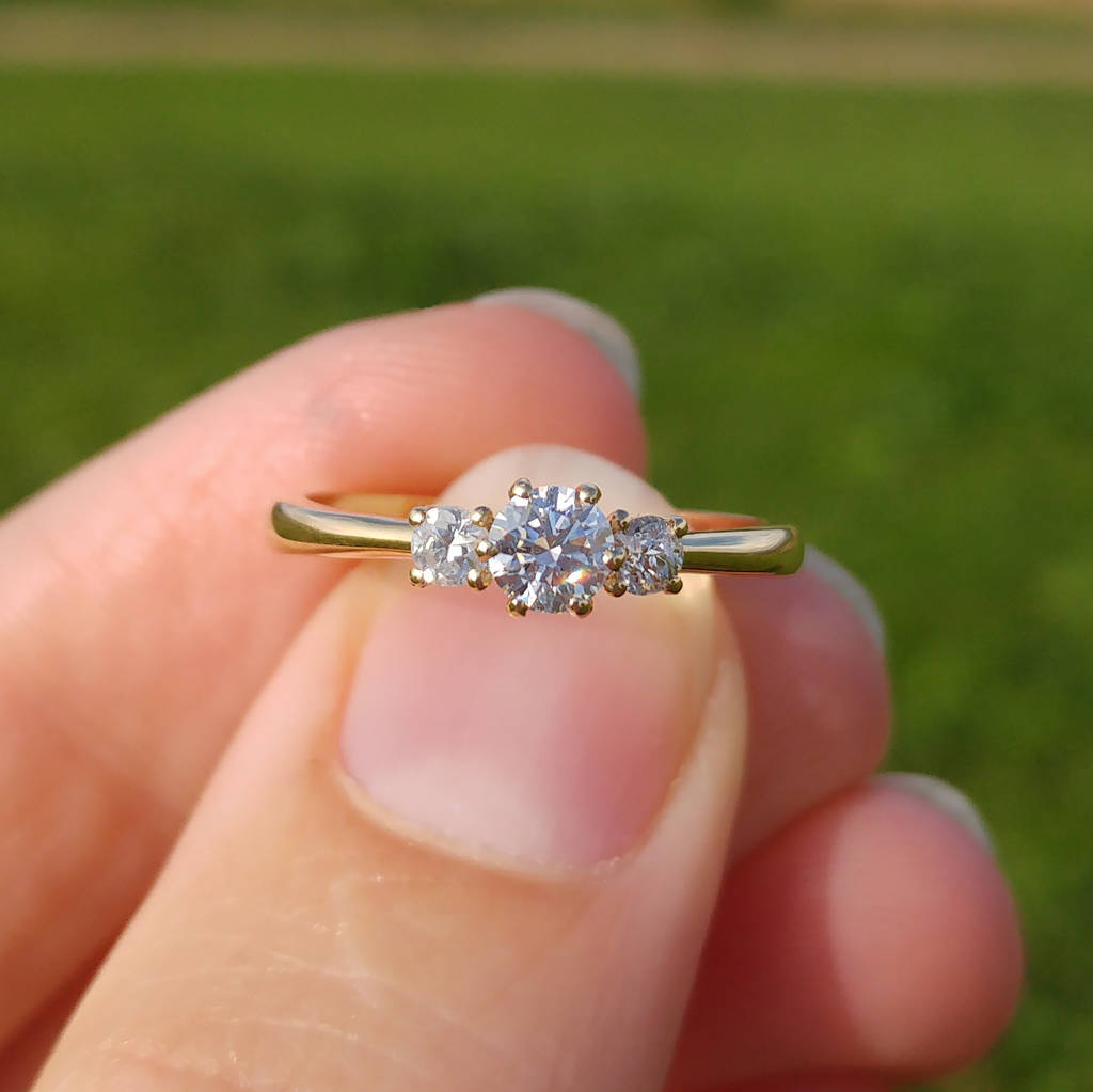 Triple Diamond Engagement Ring: Fairtrade Yellow Gold
