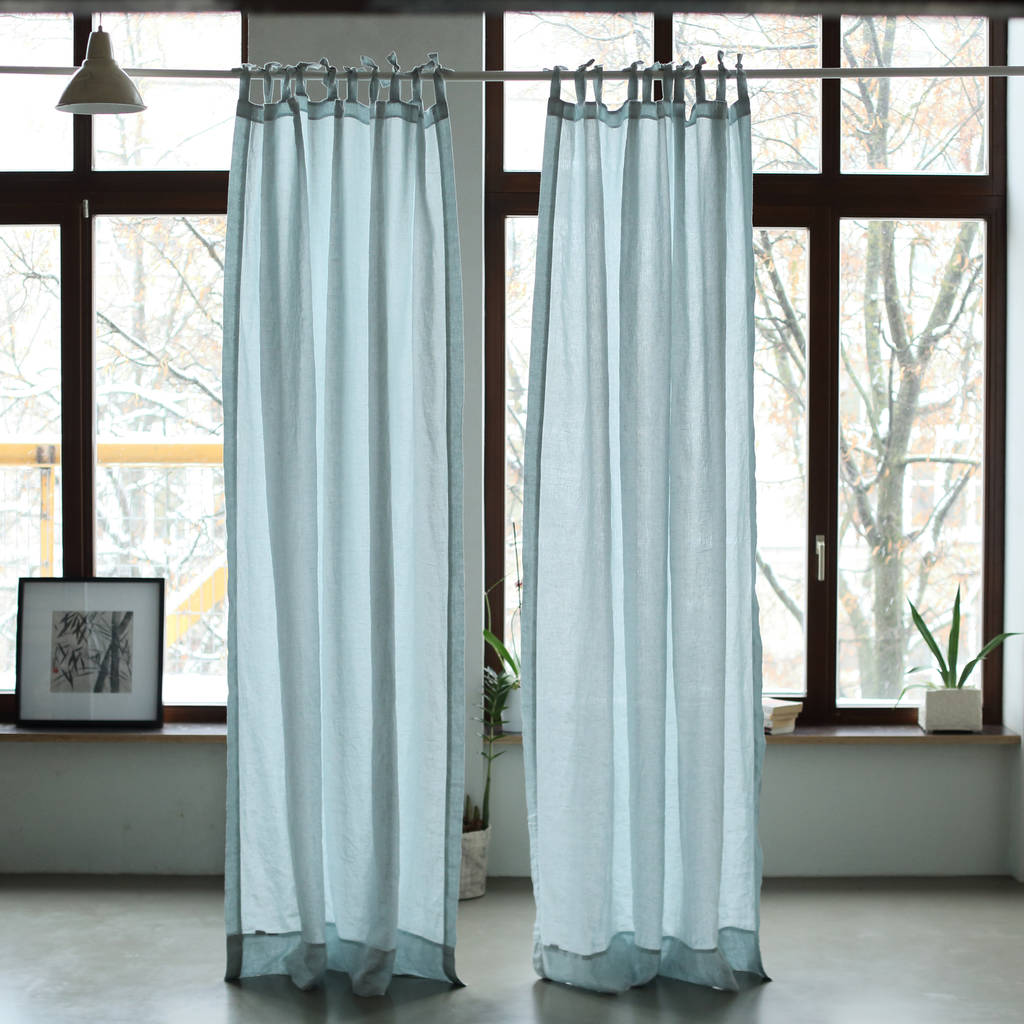 linen stone washed curtains with ties by linenme ...