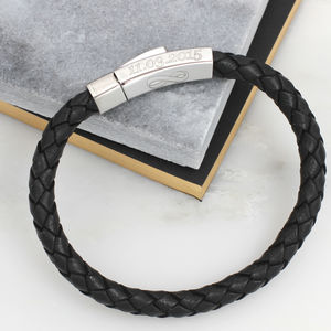 Personalised Leather Infinity Message Bracelet