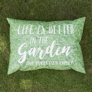 Personalised 'Better In The Garden' Outdoor Cushion - gardener
